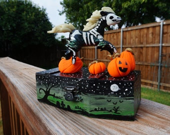 Halloween Glow in the Dark Skeleton Horse on Hand Painted Coffin Sculpture