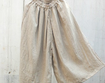 Wide Leg Pants-Elastic Waist linen pants, women plus size pants, multiple color choices
