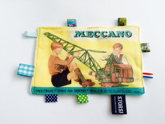 Vintage Meccano print baby sensory tag toy blanket. Yellow with white minky back and crinckle foil.
