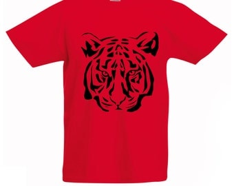 Boys Red T-Shirt / Kids Tiger Tee / Childrens Zoo Animal T Shirt in Green, Pink, Yellow Orange / Ages: 3-4, 5-6, 7-8, 9-11, 12-13