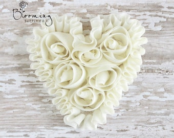 CLEARANCE! Ivory Unfrayed Chiffon Heart - Rosette Heart Applique - Valentines Day Flower Supplies - Wholesale Flowers-Boutique Hair Supplies
