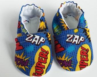 BOGO - code BOGO7 Superhero moccasins,  superhero crib shoes, superhero soft sole baby shoes, superhero baby booties,  superhero baby shoes