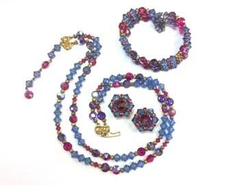 Hobe Crystal Parure 1960s | Magenta Blue Jewelry Set 60s