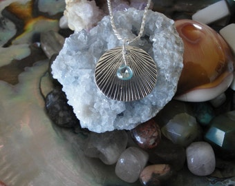 Natural Blue Zircon gemstone and sterling silver pendant necklace.  Stimulate all chakras