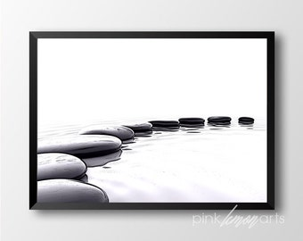 Zen stones print, Printable spa decor, Black and white stones print, Zen decor 254