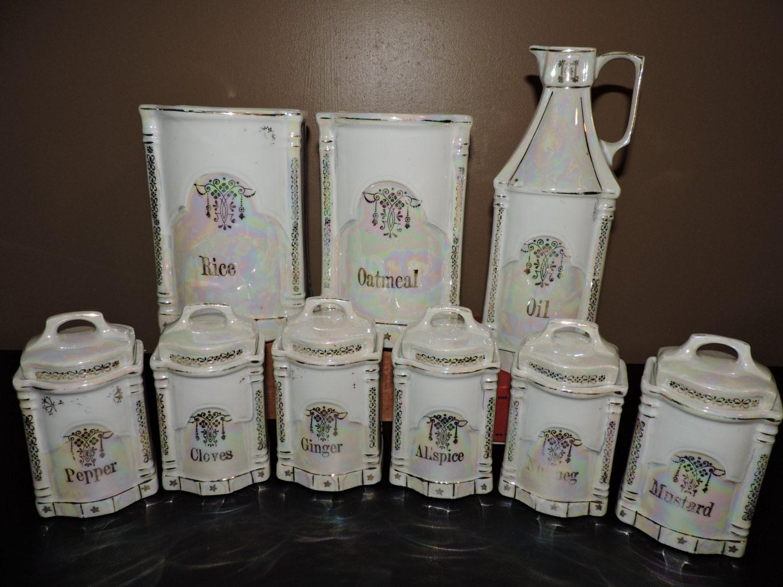 antique lusterware kitchen canister spice jars set j b amp s antique toleware tin kitchen canisters or storage bins