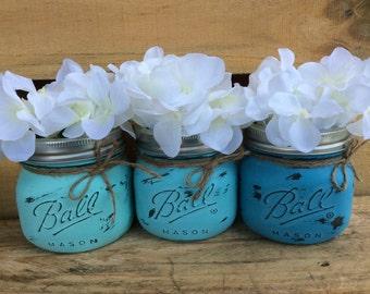 Painted Mason Jars. Vase. Home Decor. Bathroom Decor. Office Decor. Wedding Gift. House Warming Gift. Shabby Chic. Rustic/Vintage Look.