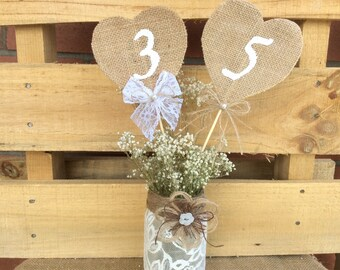 Rustic Table Numbers. Burlap Wedding Table Numbers. Shabby Chic Wedding Table Numbers. Rustic Centerpieces. Wedding Centerpieces
