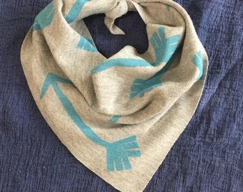 Hand stamped bandana tie bibs One sided single layered bibdanas