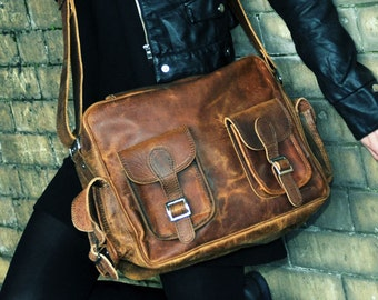 Shoulder Bag Vintage Leather Flight Bag, Camera or Laptop Case 13 INCH