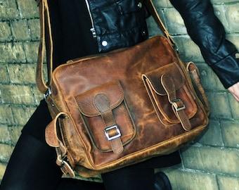 Shoulder Bag Vintage Leather Flight Bag, Camera or Laptop Case 13 INCH