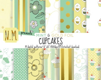 Mint Cupcakes digital paper gold foil and mint cupcake digital pattern cupcake scrapbooking paper cupcakes and flowers stripes dots gold