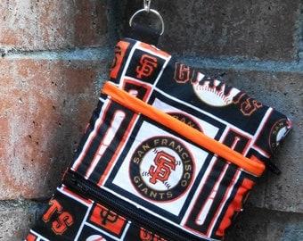 Wristlet; San Francisco Giants Baseball Wristlet Wallet; Cell Phone Purse; Zipper Pouch; Cell Phone Wristlet