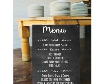 PRINTABLE Chalkboard Menu || Party Menu || Wedding Menu (Print It Yourself)
