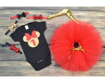 Minnie Mouse First Birthday outfit, Minnie Mouse 1st Birthday, Black and Red Minnie mouse, cake smash, Baby photography.