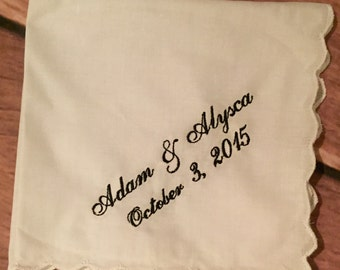 Wedding handkerchief with a name and date set of 3