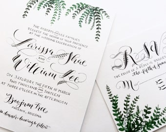 Custom Hand-Painted Wedding Invitation Suite with Hand-Lettered Calligraphy // Modern // Leafy Greens