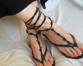 CROCHET BAREFOOT SANDALS / Summer Sandles Shoes Beads Victorian Anklet Foot Women Wedding Accessories Bridal Elegant Beach Wear Gift Black