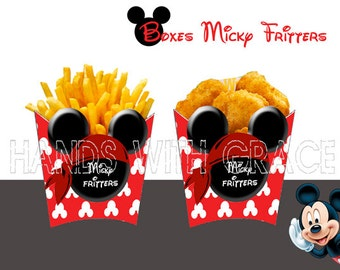 Printable Boxes French fries and Chicken Nuggets  Micky Mouse Pirate