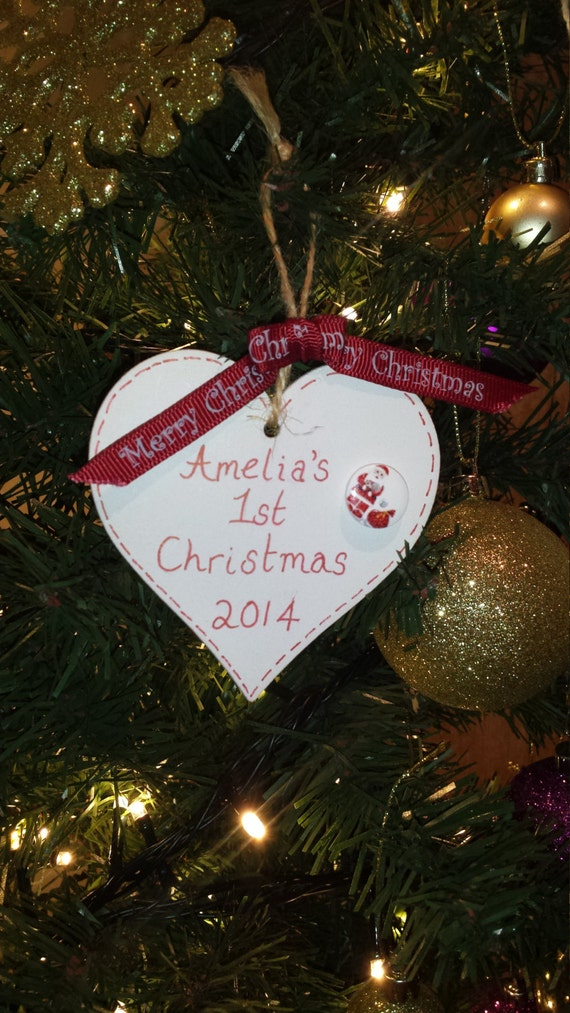 Personalised baby 39 s first 1st christmas decoration heart for Babys first christmas decoration