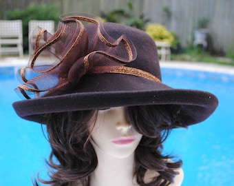 Vintage KaKy Co Brown and copper wool hat Womans Ladies