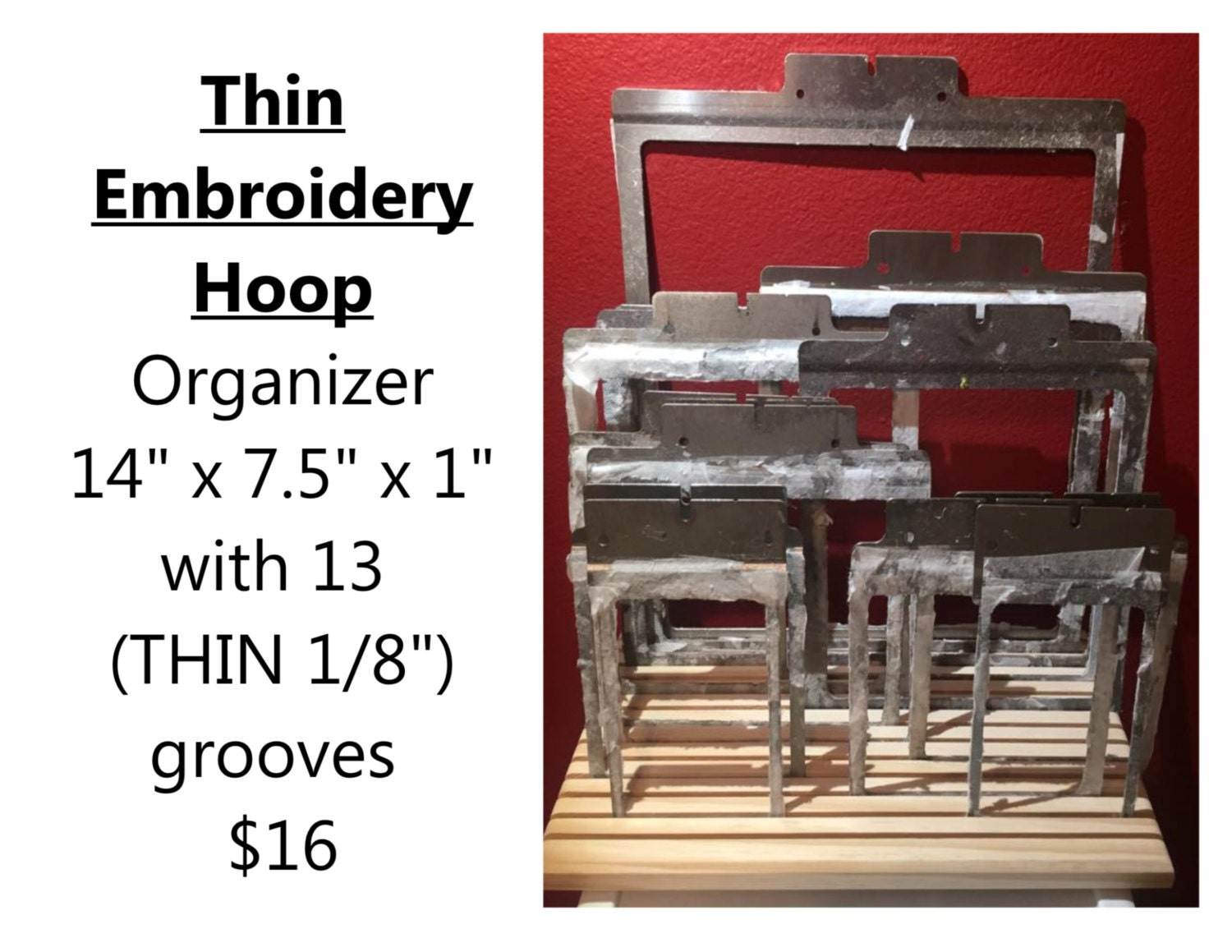 Embroidery hoop organizer thin grooves by tomswoodshop