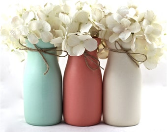 Mint and Coral Baby Shower Decorations Baby Shower Centerpiece Mint and Coral Nursery Half Pint Painted Milk Bottles Flower Vase