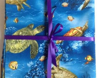 "Eco Friendly Cloth Napkins, Dinner Napkin, Fish Pattern, Lunch Napkin, Set of 4, 16""x 16"", Valentines Gift, Lunchbox Napkin N103B"