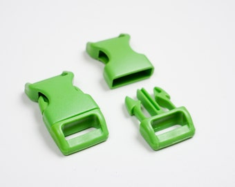 """10 x Light green paracord buckles 5/8"""" coloured side release large webbing"""