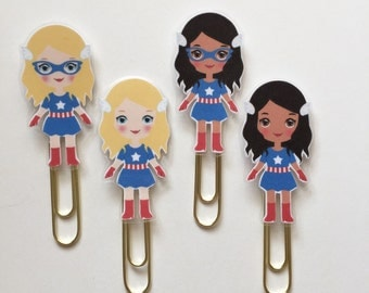 Superhero Captain AmeriGirl Double Sided Planner Bookmark Clip - Made to Order