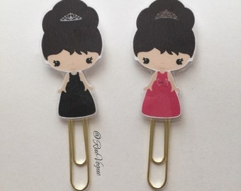 Kawaii Audrey Hepburn Double Sided Planner Clip - Made to Order