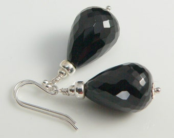 Faceted Black Onyx Stones and Sterling Silver findings.