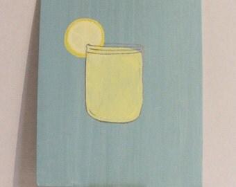 "Lemonade - A cool, shiny jar of yellow lemonade with a lemon slice on the edge on a gray-blue background, lemonade painting. 8""x10"" Acrylic"