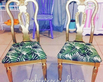 Vintage tropical palms chair  upholstery gold frame chairs classic and modern style