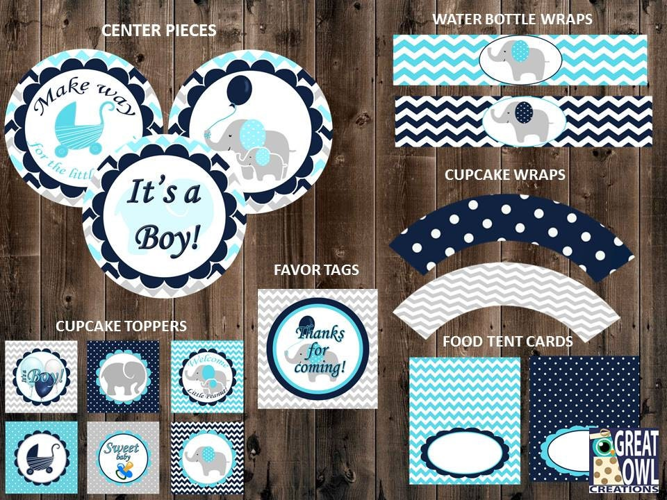 elephant baby shower party decorations blue boy shower decor