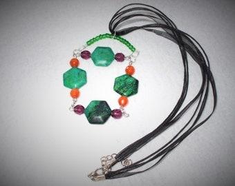 Handmade chrysocolla beaded necklace