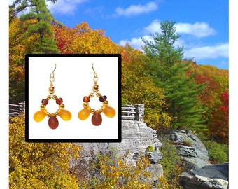 Amber Tears dangle earrings