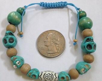 Handmade Blue Stone Skull Bead Bracelet