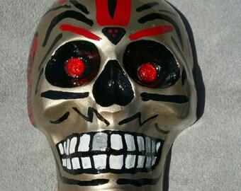 Gold Dia De Los Muertos, Day Of The Dead Sugar Skull, Calavera