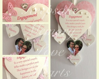Unique Engagement gift for couple wooden keepsake heart
