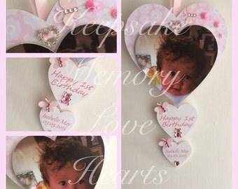 1st Birthday gift personalised wooden keepsake heart