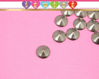 8mm Silver Cone Studs | Cone Hotfix |  Cone Iron On | Spikes | Rivets | DIY Studs | Hot Fix V100