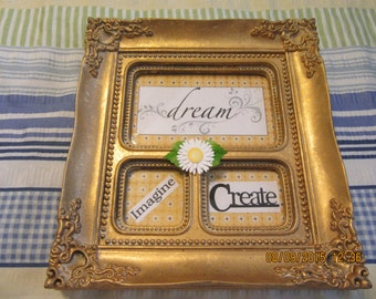Vintage Look Gold Collage Frame for the Creative Person - Dream, Imagine, Create