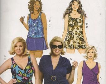 Womens Swimsuit, Swimdress, Top, Skirt, Briefs New Sewing Pattern Butterick 5795 Size 18/24