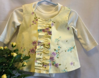 Sweet baby pinafore with Onesie. 0-5 months