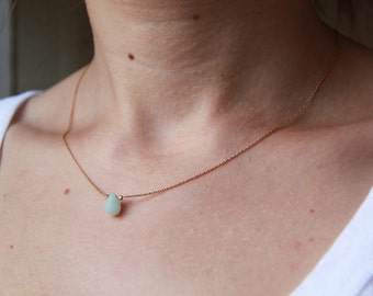 Gold filled serpentine chain necklace gemstone drop Amazonite