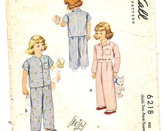 Quaint McCall's Vintage 1945 Sewing Pattern 6218, Child's 2 Pc. Pajamas Size 4