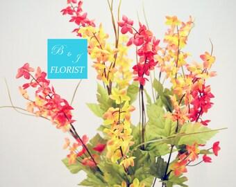 Fall Bell Flowers Bush - Red Orange Yellow - Artificial Silk Flower - Thanksgiving Home Decor
