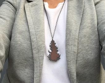 ON SALE - Rusty tree long metal necklace