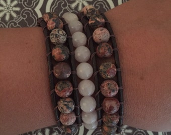 Triple wrap pink agate beaded bracelet